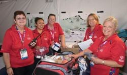 Dorothy Carmichael (far left) with Kaiser Permanente staff at Special Olympics World Games in L.A.